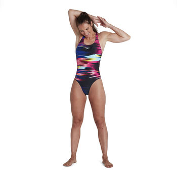 Speedo End Solar Surface Placement digital powerback badpak Dames Zwart