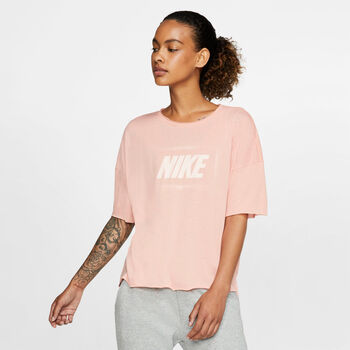 Nike Dri-FIT Short-Sleeve Graphic Training Top Dames Rood