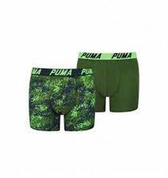 Puma Basic Printed Stripe kids boxer (2 paar) Jongens Groen