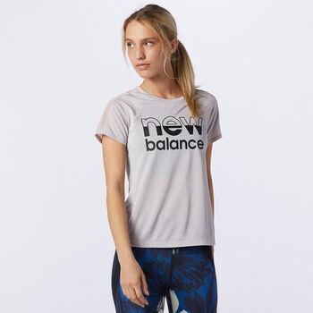 New Balance London Printed Impact Run shirt Dames Blauw