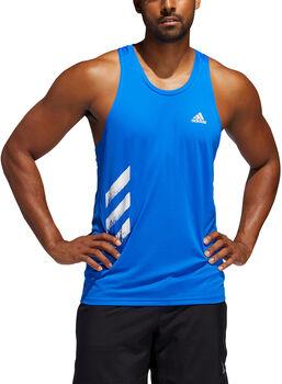 adidas Own the Run 3-Stripes singlet Heren Blauw