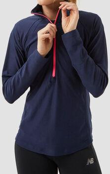 New Balance Space Dye Half Zip Long Sleeve shirt Dames Blauw