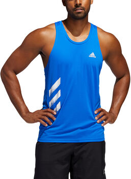 ADIDAS Own the Run 3-Stripes singlet Heren Blauw