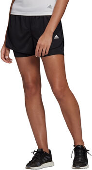 adidas Marathon 20 Two-in-One Short Dames Zwart