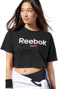 Reebok Training Essentials Linear Logo Crop shirt Dames Zwart