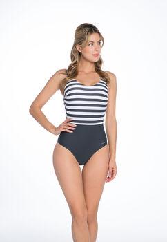 Bomain Stripe New badpak Dames Bruin