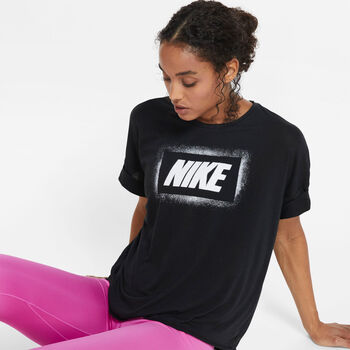 Nike Dry Oversized shirt Dames Zwart