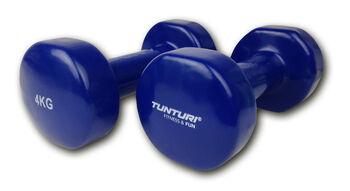 tunturi vinyl dumbbells 4.0kg, blue, pair Blauw