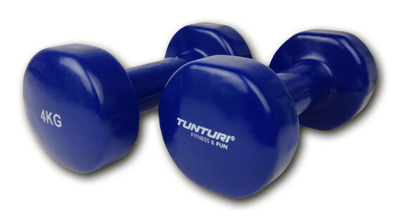 tunturi vinyl dumbbells 4.0kg, blue, pair