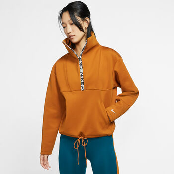 Nike Pro Cropped Mock Neck sweater Dames Oranje