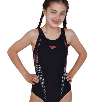 Speedo Plastisol Placement Muscleback badpak Meisjes Zwart