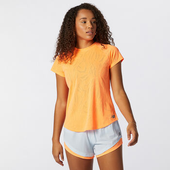 New Balance Q Speed Fuel Jacquard shirt Dames Oranje