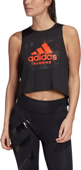 ADIDAS Fast Graphic Crop shirt Dames Zwart