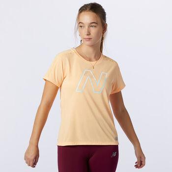 New Balance London Printed Impact Run shirt Dames Oranje