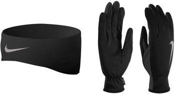 Nike Run Dri-FIT hoofdband en handschoenen set Zwart