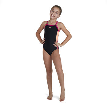 Speedo Dive Thinstrap Muscleback kids badpak Meisjes Zwart
