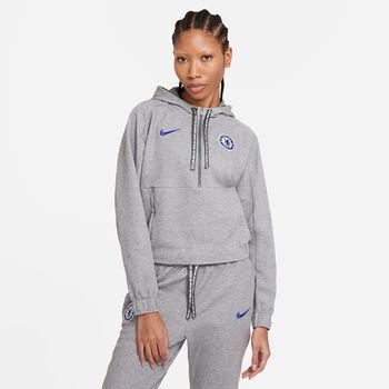 Nike Chelsea FC Cropped 1/2-Zip hoodie Dames Zwart