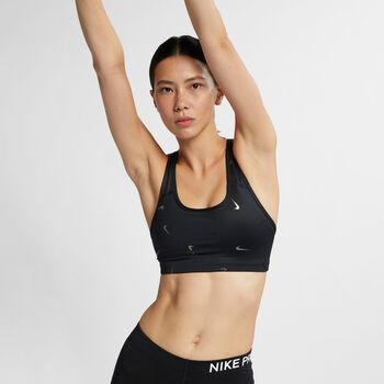 Nike Swoosh Print sportbeha Dames Zwart