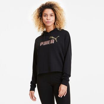 Puma Essential Metallic Cropped hoodie Dames Zwart