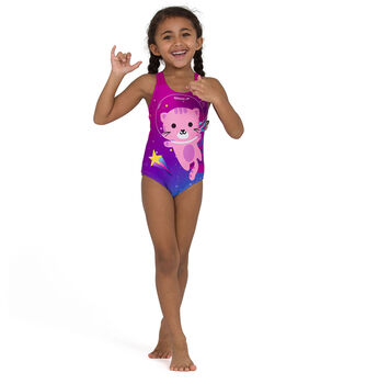 Speedo Digital Placement Appliq kids badpak Meisjes Paars
