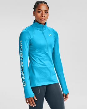 Under Armour ColdGear® Armour Graphic ½ Zip hoodie Dames Blauw