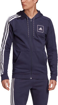 adidas 3-Stripes Tape Full Zip hoodie Heren Blauw