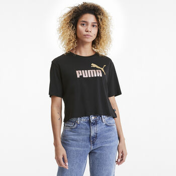 Puma Essential Metallic Cropped shirt Dames Zwart