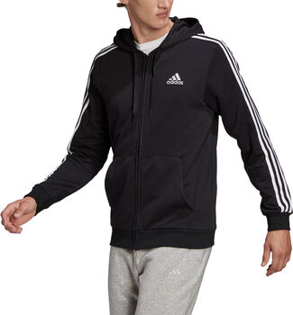 adidas Essentials French Terry 3-Stripes Ritshoodie Heren Zwart
