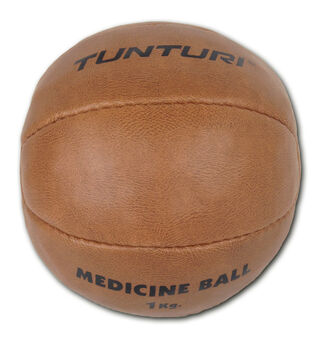 tunturi medicine ball synthetic leather 1kg Bruin