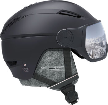 Salomon Icon 2 Visor skihelm Heren Zwart