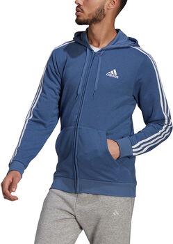 adidas Essentials French Terry 3-Stripes Ritshoodie Heren Blauw