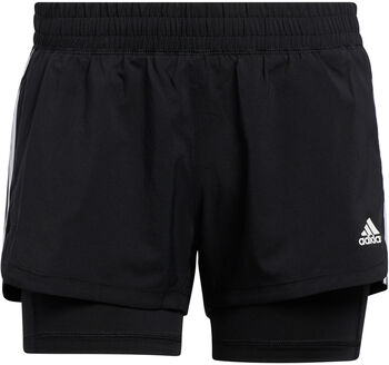 adidas Pacer 3-Stripes Geweven Twee-in-Een Short Dames Zwart