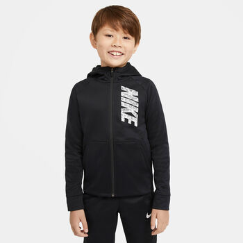 Nike Therma Full-Zip Graphic kids hoodie Jongens Zwart