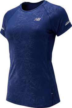 New Balance Printed Ice 2.0 Short Sleeve shirt Dames Blauw