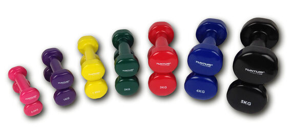 tunturi vinyl dumbbells 3.0kg, red, pair