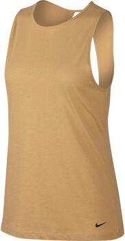 Nike Dry Studio Open Back top Dames Geel