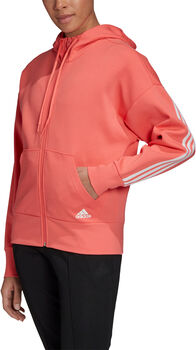 adidas 3-Stripes Doubleknit Scuba hoodie Dames Zwart