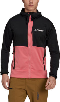 adidas Terrex Tech Flooce Hooded Hiking Fleece Jack Heren Zwart