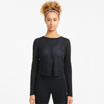 Puma Train Mesh Long Sleeve top Dames Zwart