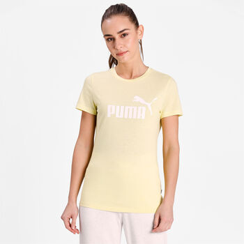 Puma Ess Logo Heather shirt Dames Geel