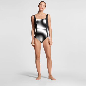 Tweka Regular Stripe badpak Dames Zwart