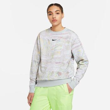 Nike Sportswear Trend Fleece Crew AOP Printed sweater Dames Wit