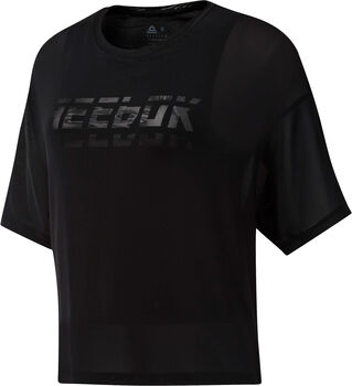 Reebok Workout Ready Mesh Layer shirt Dames Zwart